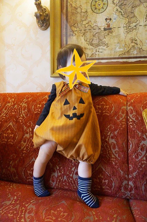 赤ちゃんのかぼちゃの衣装、手作りパンプキンオール
